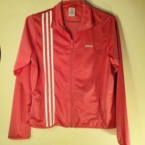 Adidas EUC flamingo pink 3 track jacket sz L